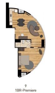 パッシグリバーを望む180度の展望の1ベッドルームプレミア